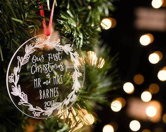 Personalized Christmas Ornament, Our First Christmas Ornament Personalized, Newlywed Ornament, Christmas Gift for Newlyweds