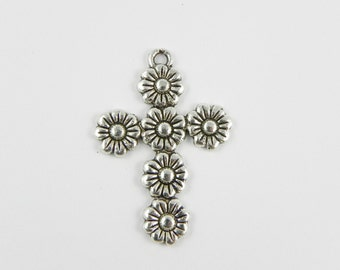 6 Flower Cross Charms - Antiqued Silver - 36mm x 25mm