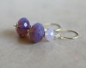 Czech glass earrings, Swarovski earrings, purple glass earrings, violet glass earrings, Czech glass jewelry, sterling silver ear wires