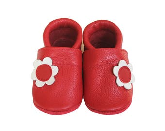 Leather Baby Booties, Baby Shoes, Flower Shoes, Infant Newborn Nursery Children, Red