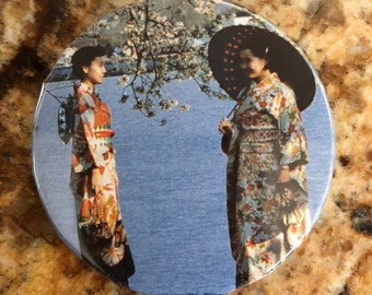 Women in Kimonos Under Cherry Blossoms Pin