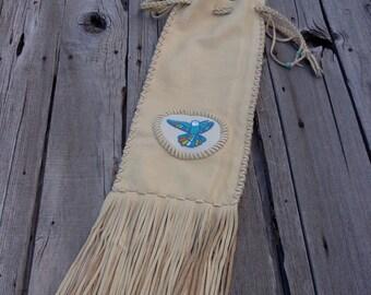 Pipe bag, beaded hummingbird pipe bag, custom pipe bag, handmade custom pipe bag , fringed pipe bag ,  shamans pipe bag, native pipe bag