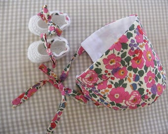 All crush LIBERTY Betsy pink and white cotton booties 1/3/6/9 months