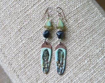 contemporary mint green and black earrings, unique glass enameled copper earrings, lightweight long mint green earrings, mint green jewelry