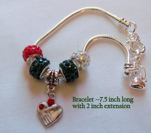 Red heart Bracelet  - silver snake chain - red glitz love bracelet - Valentines gift - Mothers day - friendship - Commitment  Gift