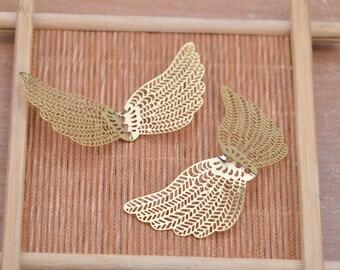Wing charm.8pcs raw brass wing,wing pendant,filigree brass wing.huge brass wing.brass butterfly