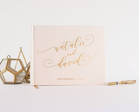 Gold Foil Wedding Guest Book landscape horizontal wedding book wedding guestbook instant photo book personalized names hardcover registry