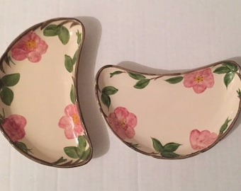 "Lot of 2 USA Franciscan Desert Rose 8"" Crescent Half Plates Salad 1995 Vintage"