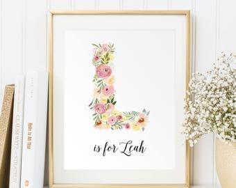 Personalized printable, Baby girl gift, Baby girl name sign, Baby name wall art, Name print, Nursery letters girl, Wall decor Name art, PDF