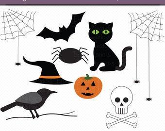 Classic Halloween Digital Art Set Clipart INSTANT DOWNLOAD Commercial Use Halloween Clipart