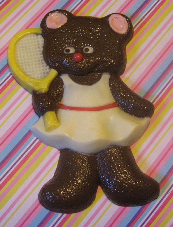 Solid chocolate teddy bear tennis player candy or cake topper
