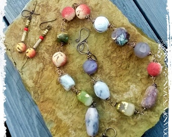 Wire Wrapped Stone Necklace Gypsy Necklace Chunky Short Boho Necklace, Rustic Bohemian Mixed Media Jewelry, Urban Primitive Gift for Her,