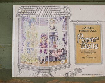 Vintage French Paper Dolls Book, Fashion Graphics