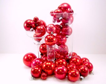 48 Red Vintage Glass Christmas Ornaments Holiday Tree Decorations Baubles