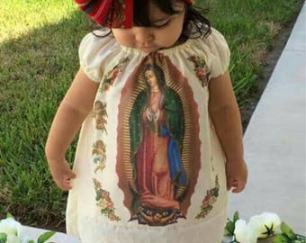 Mexican virgen maria dress, Virgin Mary, Baptism dress, virgen de guadalupe dress
