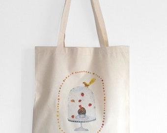 Cupcake tote bag, Cute tote bag, Sweet tote, Cute bird, Cupcake bag, Cute bag, Watercolor tote, Chocolate cupcake, Bird shopping bag, Cloche