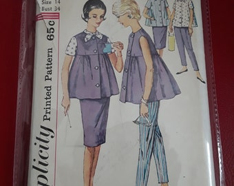 Vintage maternity top, skirt, blouse and pants sewing pattern size 14 bust 34