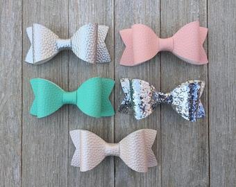 Hair Bows|Faux Leather Hair Bows|Pink Hair Bows|Glitter Hair Bows|French Barrette Bows|Alligator Clip Bows|Princess Hair Bows