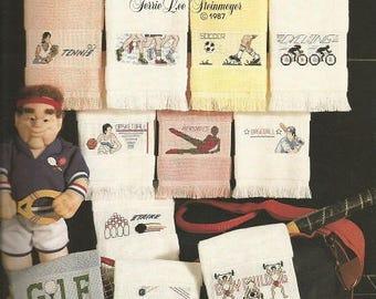 "Vintage Leisure Arts ""Towels For Good Sports"" Cross Stitch Leaflet"