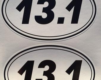2 Half Marathon Oval 13.1 Diecut Window Bumper Decal Sticker