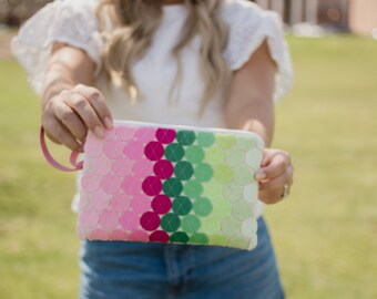 Wool Felt Wristlet Green and Pink Wallet Wristlet Clutch Spring Fashion Linen Bag Felt Bag iPhone 6 Case iPhone Samsung Galaxy Case