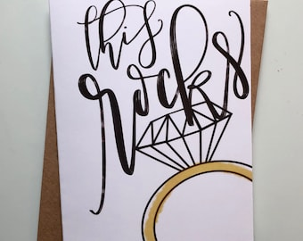 "Hand-Lettered Handmade ""This Rocks"" Diamond Ring Engagement Card 