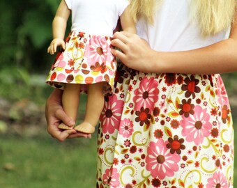 Matching Girl and Doll Clothes Fits American Girl Doll - Indian Summer Twirl Skirts in Cream Flowers, Many Sizes Available