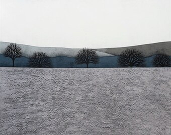 Intermission 9 - Archival 8x8 Art Print - Contemporary Minimalist Winter Landscape Painting - Grey, Blue - by Natasha Newton