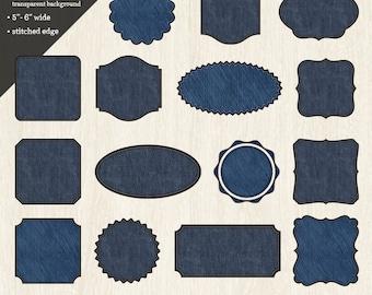 Digital Clipart: Denim Labels & Frames with Stitched Edge//Denim Digital Clip-art//Denim PNG Tags