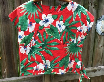 Vintage 90s Hawaiian TROPICAL CROP TOP tourist tie shirt