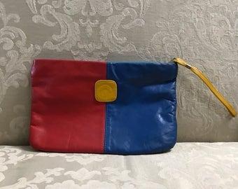 Vintage Clutch, Leather Clutch, Color Block Clutch, Leather Purse, Red Handbag, Blue Handbag, Vintage Clutches, Color Block Purse, Clutches