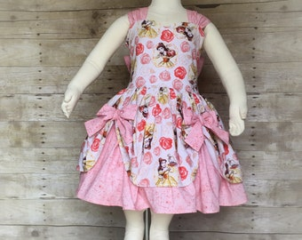 Belle dress , birthday dress , princess dress, pink dress