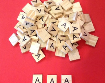 Vowels Same Letter Scrabble Tiles - Mixed Bags of Wooden Tiles - 18mm x 20mm For Crafting