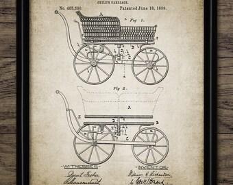 Vintage Baby Pram Patent Print - 1889 Pram Design - Perambulator - Baby Carriage - Baby Transport - Single Print #1370 - INSTANT DOWNLOAD