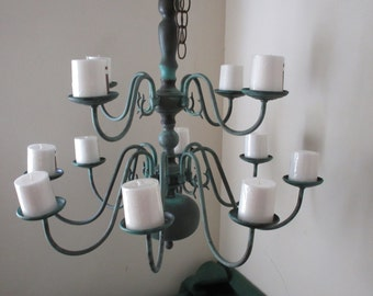 Up-Cycled Patina 12 arm Candelabra Chandelier