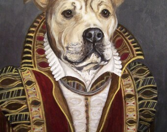 "Pet Portrait ""Old Masters"" style, 16x20 acrylic"