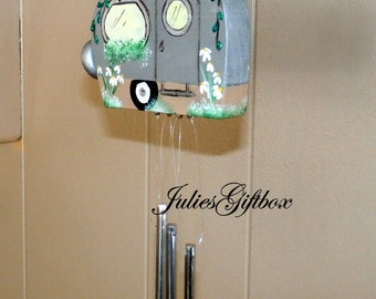 Small Silver Camper Wind Chime-Solid Aluminum Chimes-Hand Crafted-OOAK-Travel Trailer