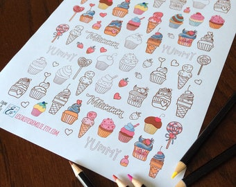 Lot of cupcake and candy stickers, ideal for diaries or planners