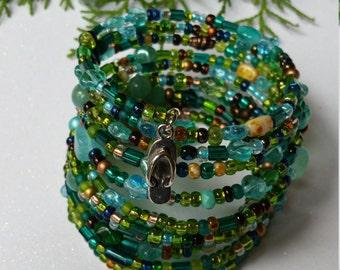 thick bracelet, memory wire bracelet, beaded jewelry, seed bead bracelet, turquoise bracelet, aquamarine jewelry, beaded wrap bracelet,