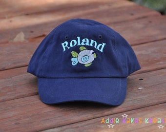 Personalized Baby or Toddler Size Baseball Cap with Name and Your Choice of Design