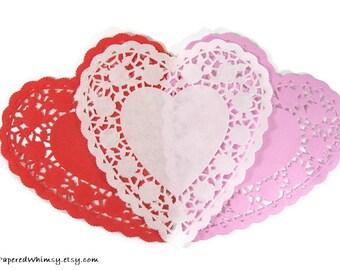 25 Heart Paper Doily   French Lace Paper Doily   Paper Lace Doily   White Paper Doily   Pink Heart Doily   Red Heart Doily   Valentine Doily