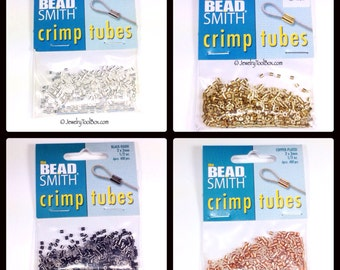 Crimp Bead Tubes, 100 or 400 Pieces, 2x2mm, Choose Silver, Gold, Copper or Black Finish Metal