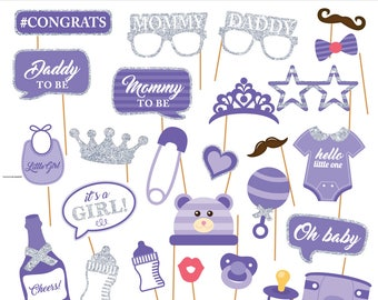 Printable Baby Girl Shower Photobooth Props -Baby Girl Photo Booth Props - Its a girl Party Props -Lavender baby girl -  Instant Download