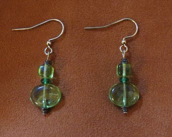 Light Green Bead Earrings