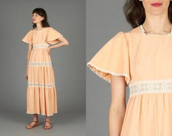 70s Peach Maxi Dress