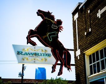 Oklahoma City - Neon Sign - Buildings - Automobile Alley - Architecture - Downtown - Rawhide Neon Sign