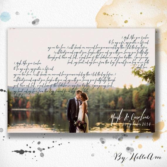 Wedding Vow Artwork: 1st Anniversary Gift Vows Wedding Vows Paper Anniversary