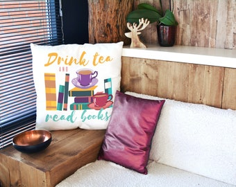 Pillow With Books - Book Pillow - Literary Gifts - Bookish Decor- Bookish Items- Bookworm For Her- Pillow Case Design- Literature Home Decor