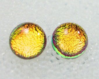Dichroic Fused Glass Studs, Hypoallergenic Post Earrings, Sparkling Warm Fall Pumpkin Golden Yellow Orange