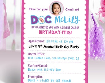 Doc McStuffins Inspired Birthday Invitation with Photo | Checkup Card Girl Toddler Pink Purple Party | Printable Digital Invitation